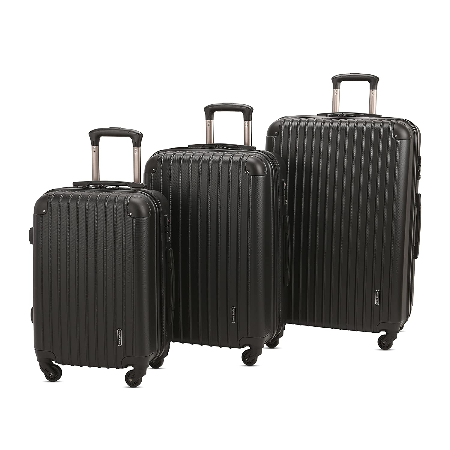 fb962f34c346 HyBrid & Company Luggage Set Durable Lightweight Spinner Suitcase  LUG3-9018, 3 Pieces, Black
