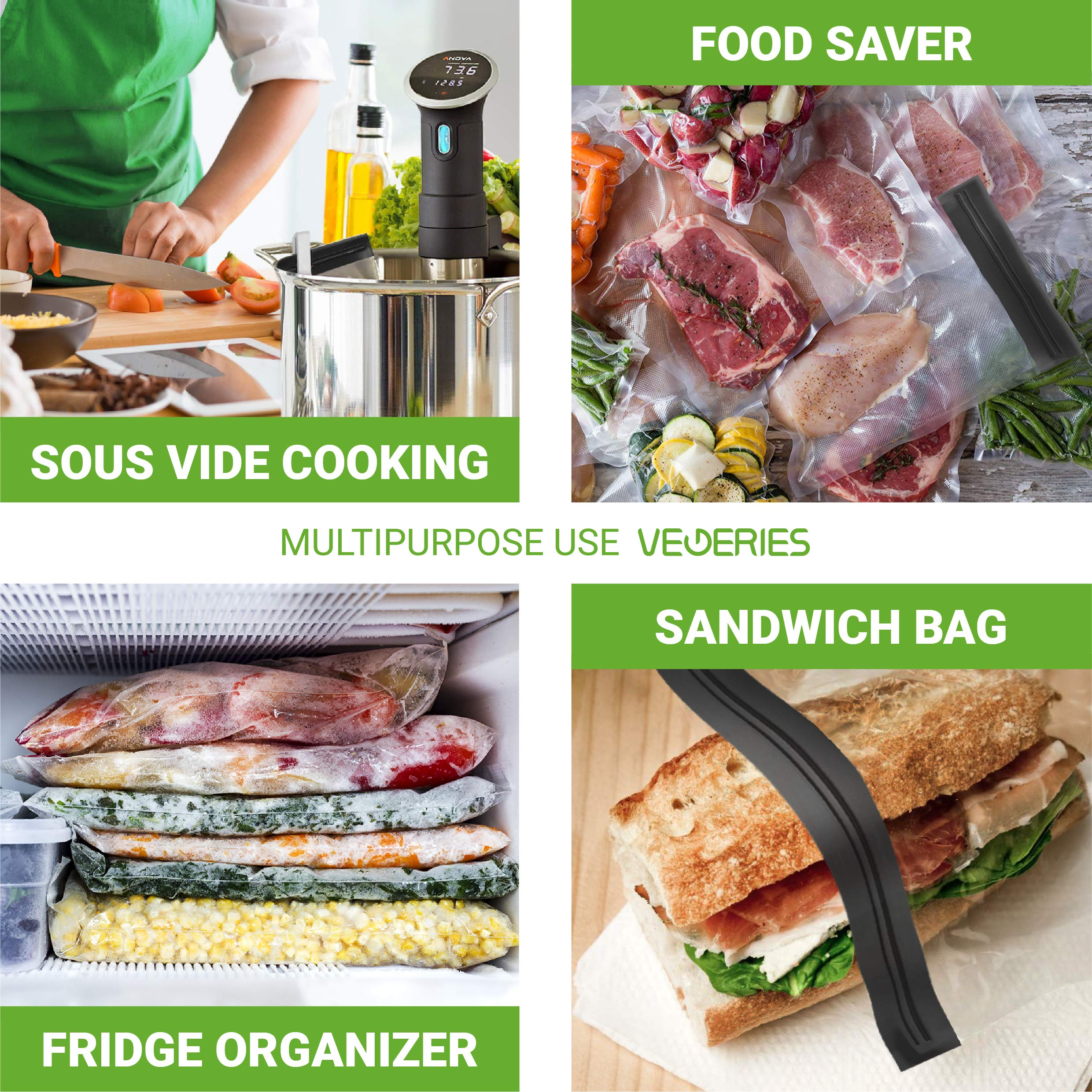 Sous Vide Bags 30 Reusable Vacuum Food Storage Bags for Anova and Joule Cookers - 3 sizes Sous Vide Bag Kit with Pump - 4 Sealing Clips - 4 Sous Vide Bag Clips for Food Storage and Sous Vide Cooking by VEGERIES (Image #2)