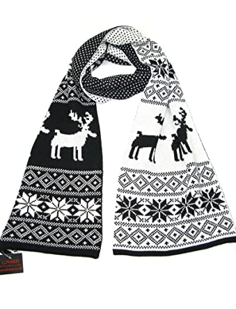 Christmas Scarf.Lovarzi Winter Knitted Scarf For Women And Men Reindeer Fair Isle Christmas Theme Scarves