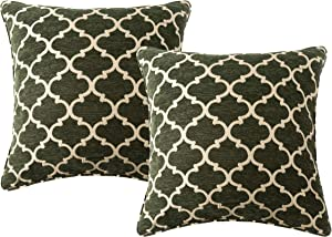 """Randall Geometric Throw Pillow Covers 20"""" x 20"""" Diamond-Pattern Cozy Cushion Covers for Modern Decoration Room Bedroom Sofa Chair Car- 2 Pack, Sage"""
