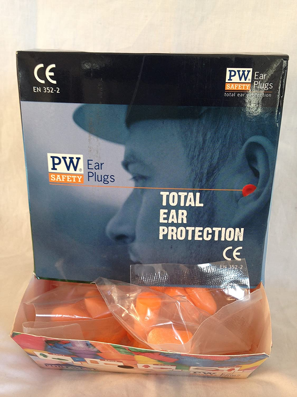 200 pares Espuma de poliuretano enchufe de o/ído Portwest EP02 color naranja