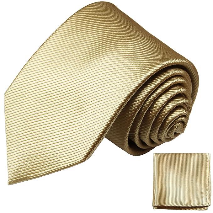 P.M. Krawatten Paul Malone Corbata de seda arena dorada (165cm ...