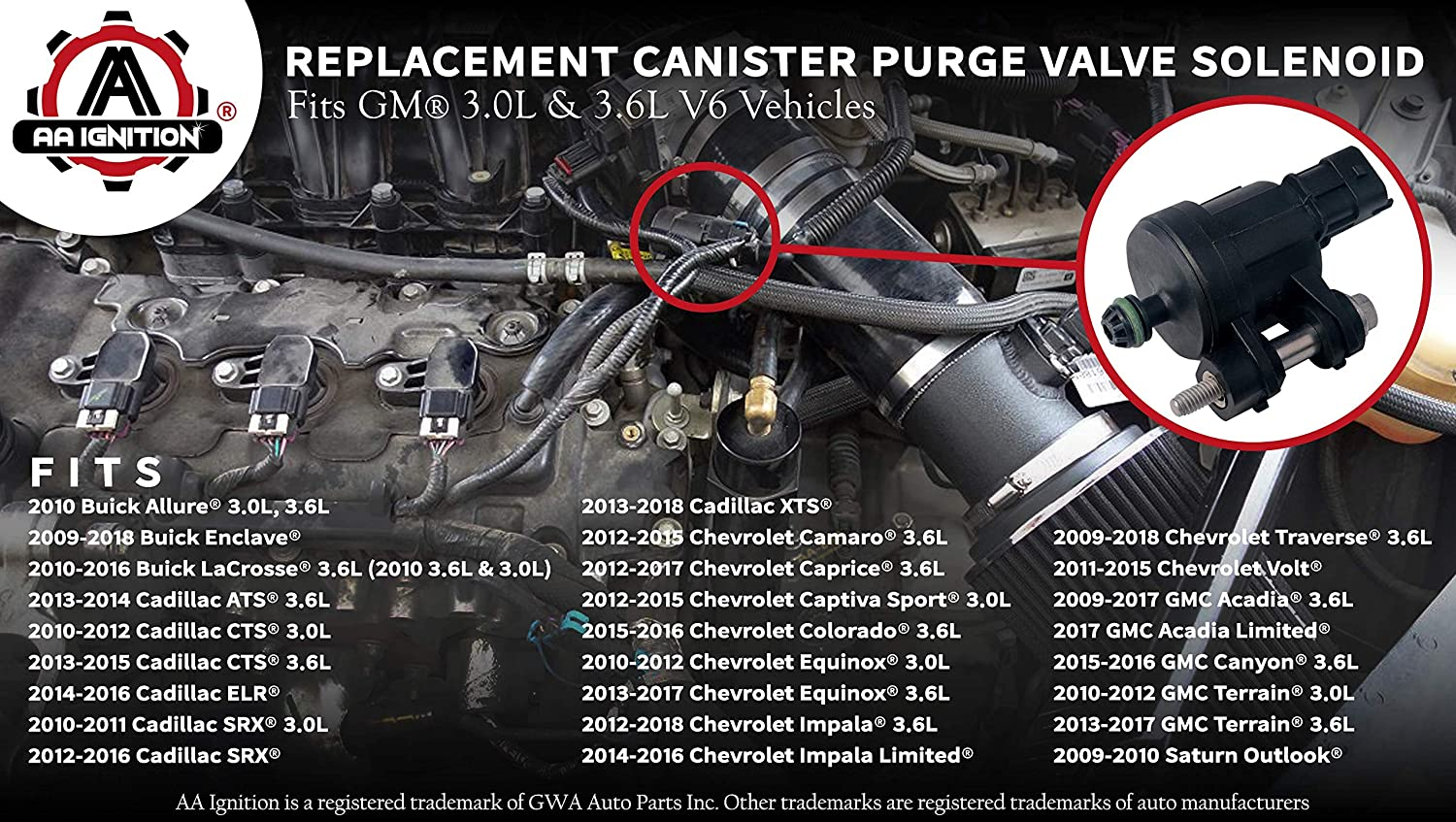 Vapor Canister Purge Valve Solenoid Replacement for Buick Enclave Lacrosse Cadillac ATS CTS Camaro Equinox Impala GMC Acadia Terrain Saturn Outlook 3.0L 3.6L 718-210 12610560