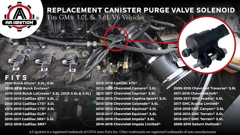 Vapor Canister Purge Valve Solenoid - Replaces 12610560, 911-082, 12690512,  12661763 - Fits 3 0L, 3 6L V6 Chevy Impala, Traverse, Colorado, Cadillac