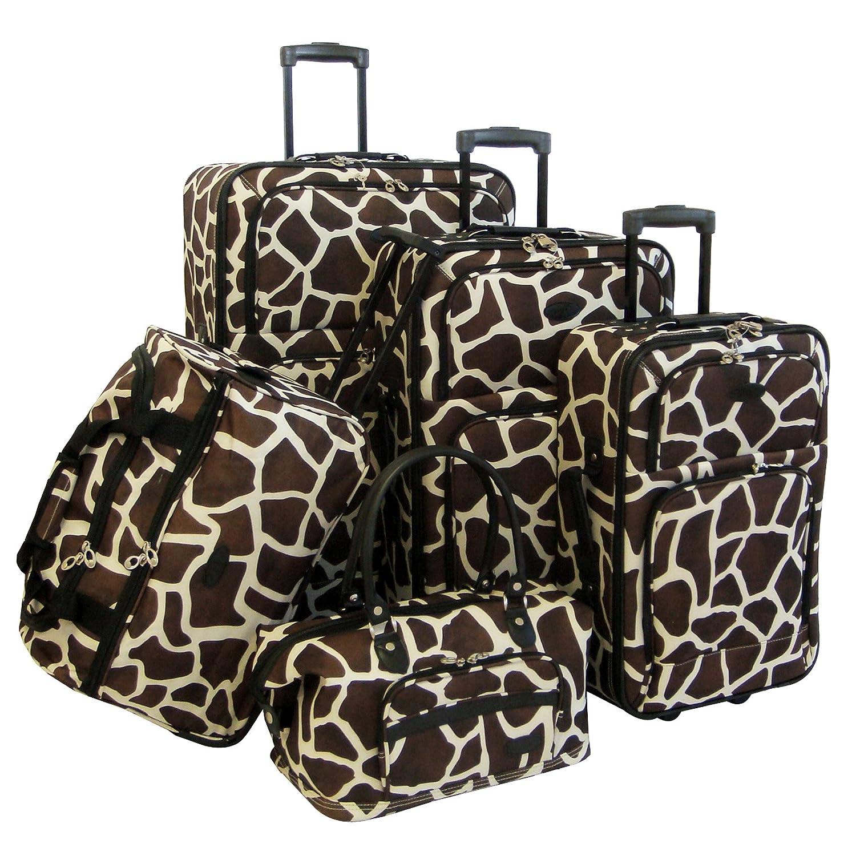amazon com american flyer luggage animal print 5 piece set