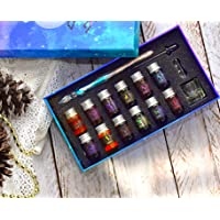 Glass Calligraphy Dip Pen Set with Ink, Ink Cup, Ink Dropper and Pen Holder