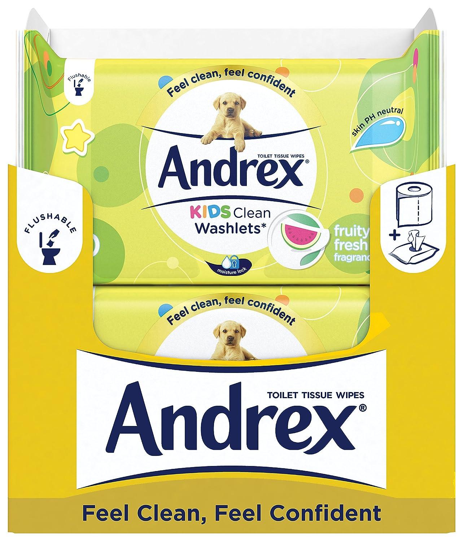 Papel higiénico húmedo desechable para inodoro para niños Andrex, pack de 12 paquetes.: Amazon.es: Salud y cuidado personal