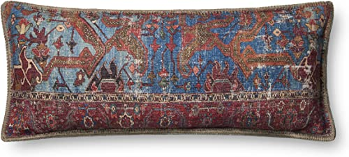 Loloi P0655 Pillow Cover with Down Fill, 13 x 35 , Blue Multi