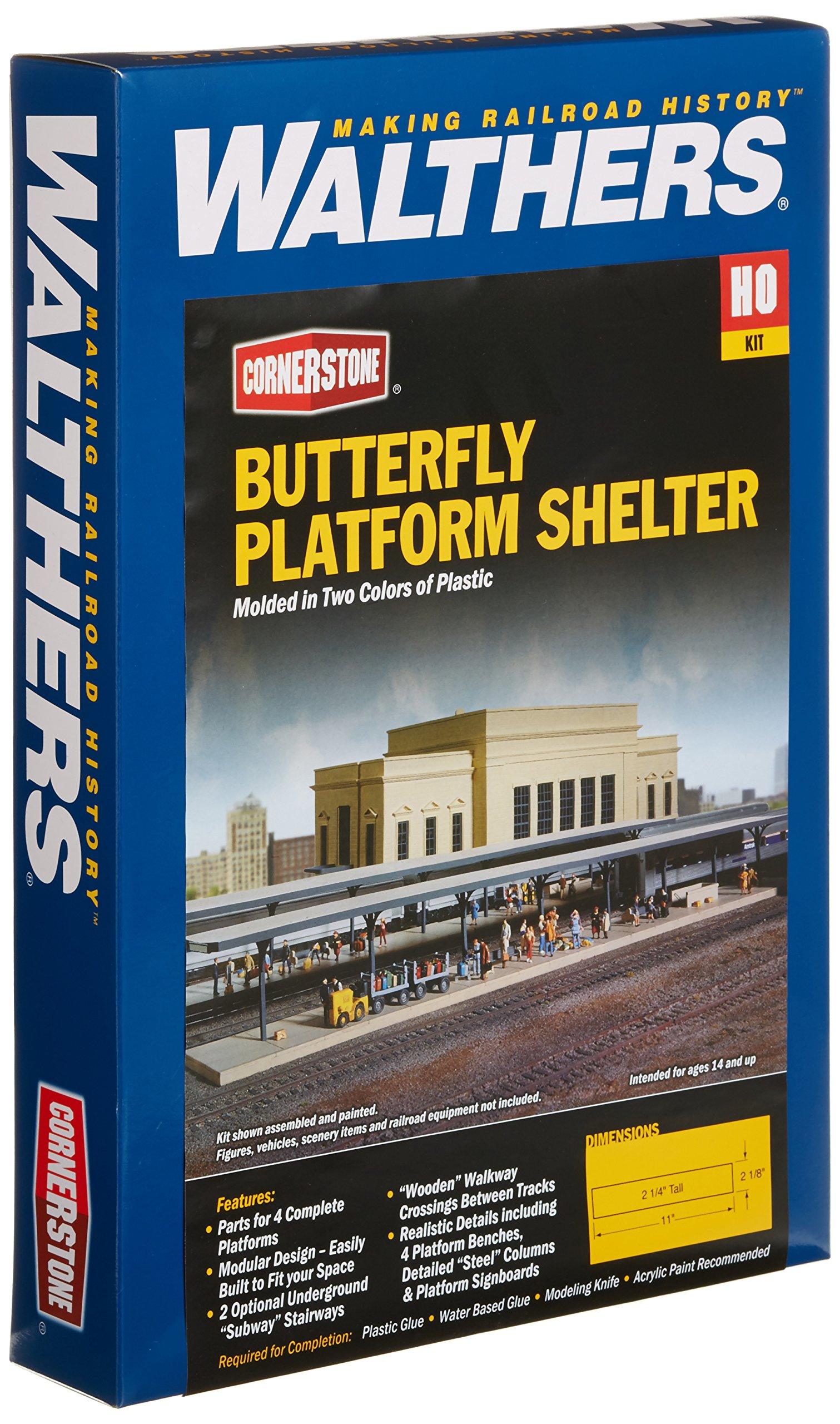 Walthers Cornerstone Series Kit HO Scale Butterfly-Style Station Platform Shelters