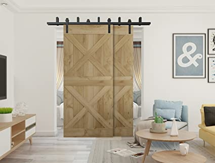 Amazon Com Diyhd 11ft Rustic Black Bypass Double Sliding Barn Door