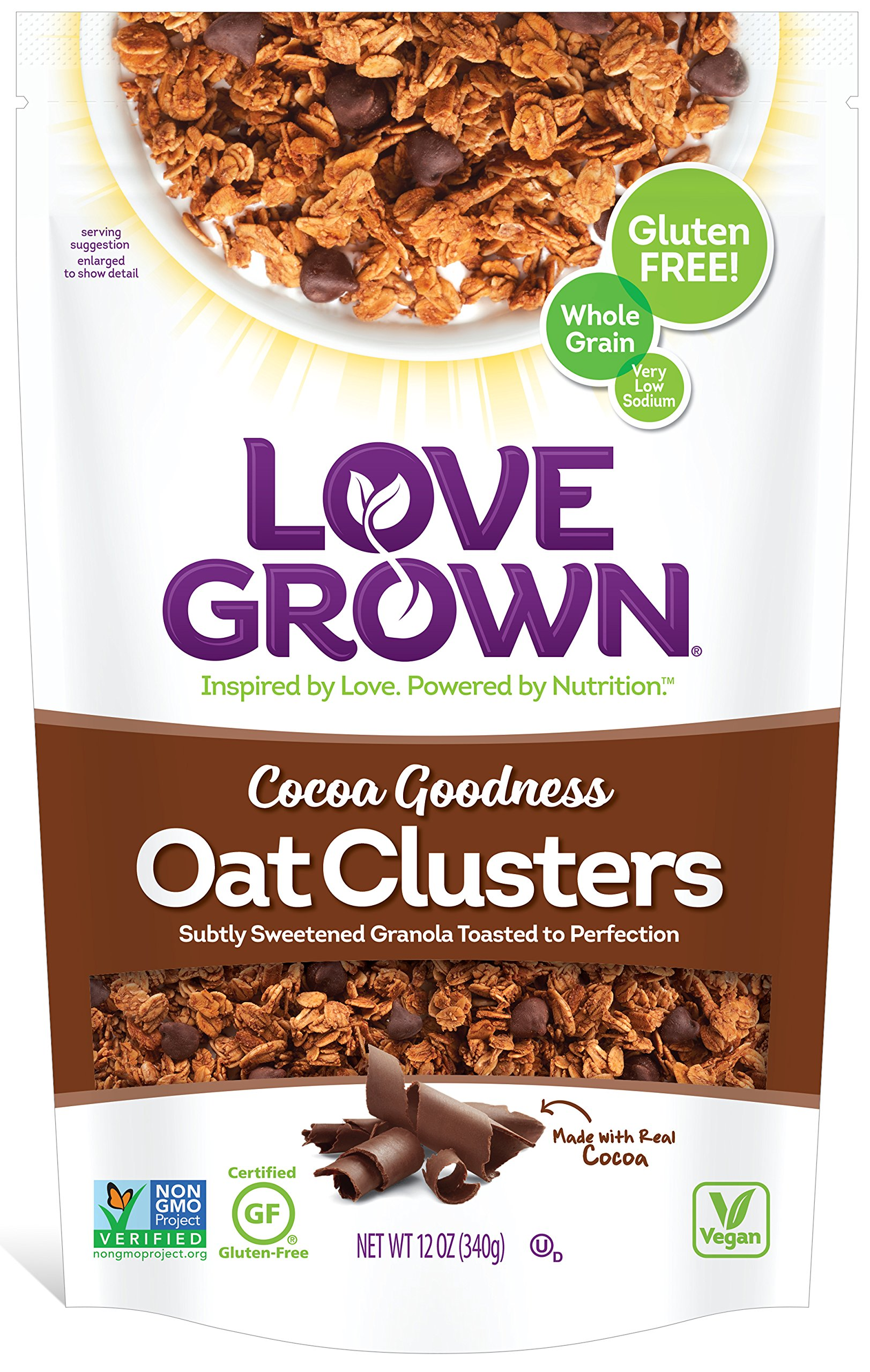 Love Grown Oat Clusters, Cocoa Goodness, 12 Ounce (Pack of 3)