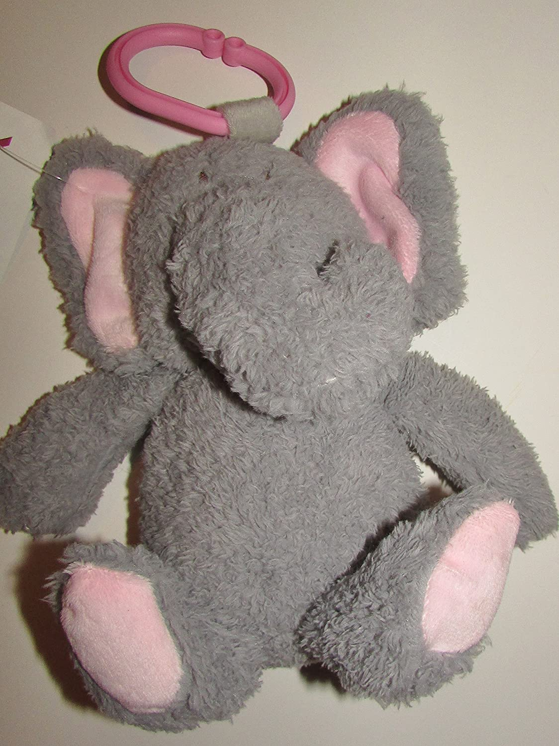 Plush Elephant With Crinkle Ears and Rattleサウンドグレー/ピンククリップfor Crib /ベビーカー   B073K2XYMG