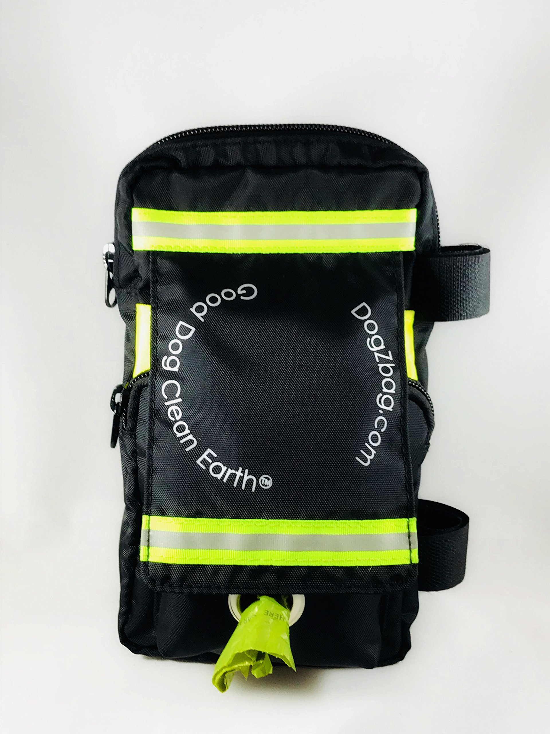 Dog Walking Bag - 5 separate pockets. Holds keys, cash, dog treats, poop bags, cell phone, water bottle and used waste bags. Easily attaches to your leash. Black with neon green reflective tape.