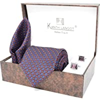 Kanthlangot Jacquard Purple Self Design Tie Pocket Square And Red Purple Cufflinks Set