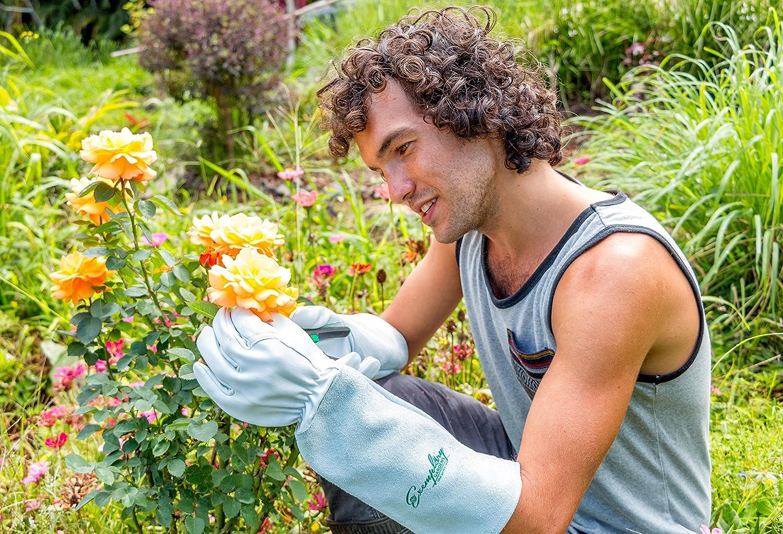 Peque/ño, Natural Guantes de jardiner/ía para los hombres y las mujeres Piel de cabra guantes de jardiner/ía de cuero de piel de vaca que tienen pu/ños largos para proteger los brazos hasta los codos