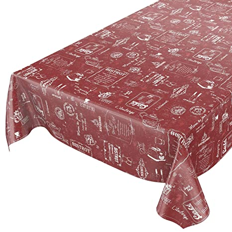 Hule, mantel encerado, toalla, rojo, 500 x 140cm
