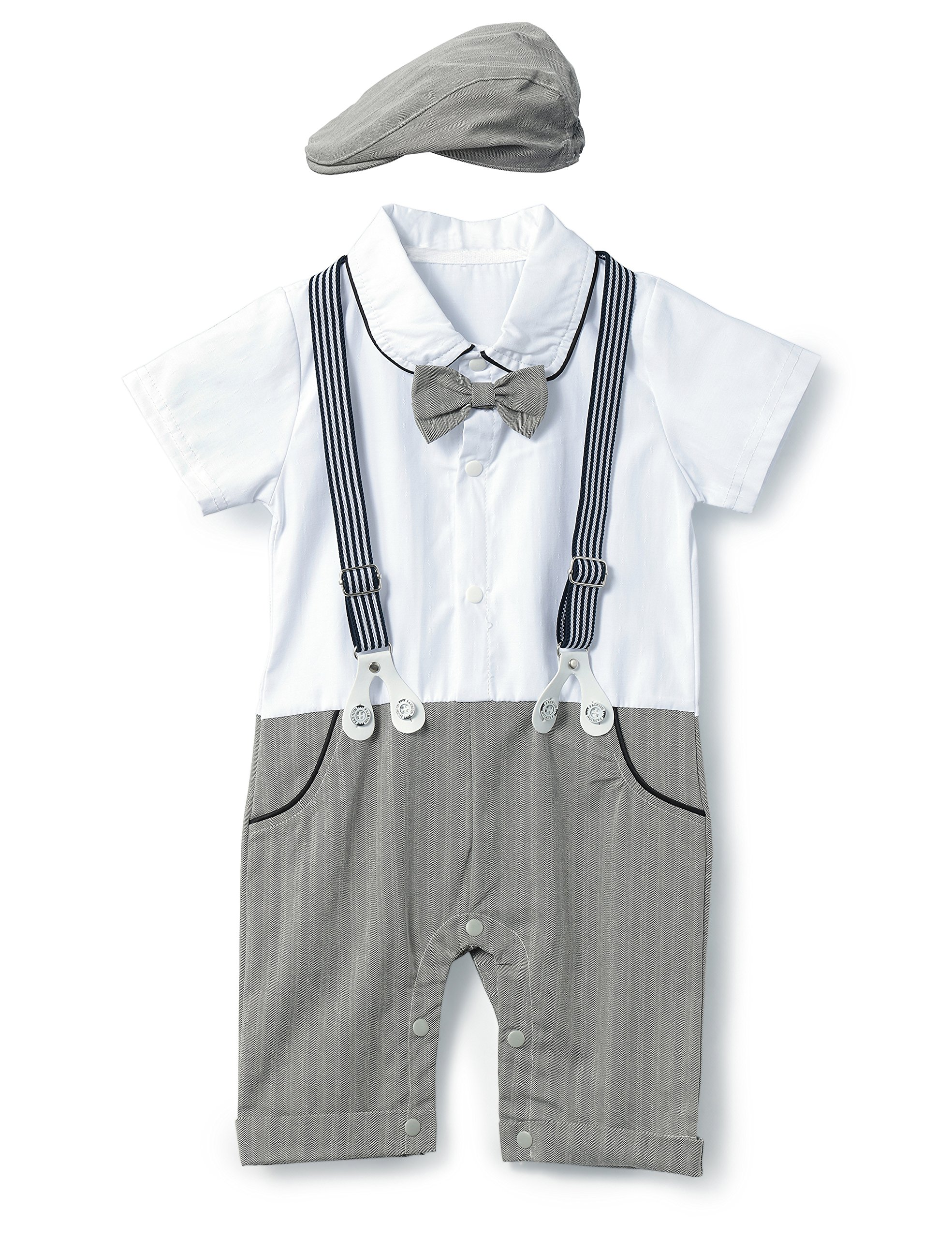 HeMa Island HMD Baby Boy Gentleman Bowtie Tuxedo Onesie Jumpsuit Overall Romper with Hat (0-18M) (Grey, 60(0-3 Month))