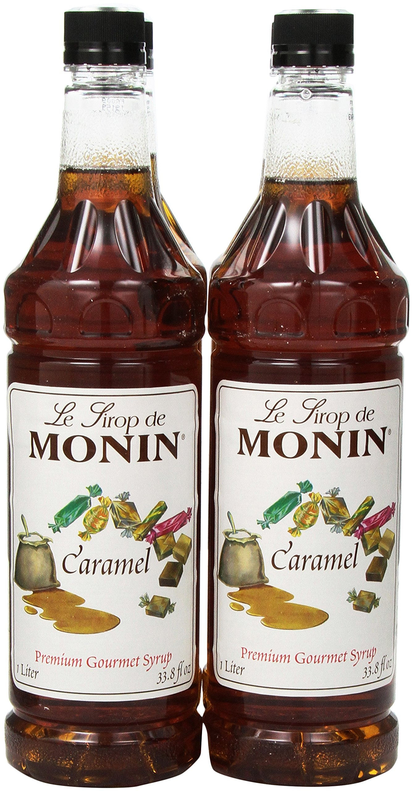 Monin Flavored Syrup, Caramel, 33.8-Ounce Plastic Bottles (Pack of 4)
