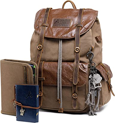 leather and waxed cotton canvas school backpack Tan backpack unisex design laptop bag wood handle bag man purse