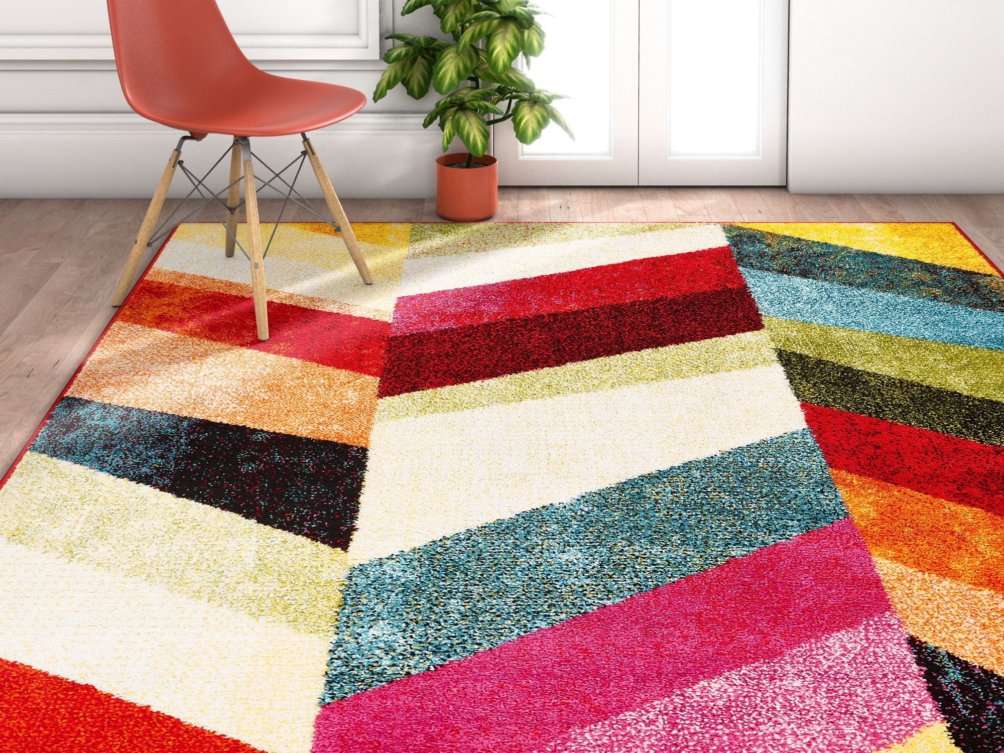 Well Woven Imagine Chevron Modern Geometric Blocks Pattern 8x11 (7'10'' x 10'6) Area Rug Soft Shed Free Easy to Clean Stain Resistant