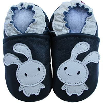 Carozoo Baby Unisex soft sole leather infant toddler kids shoes Bunny Navy Blue
