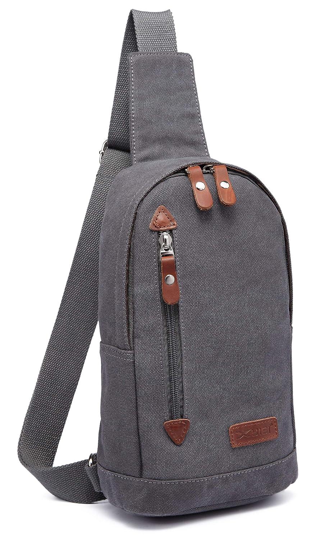 Lona Hombres Mochila Bolsa de Hombro Bolsa de Deporte Chest Bag Crossbody Bag Daypack Gris