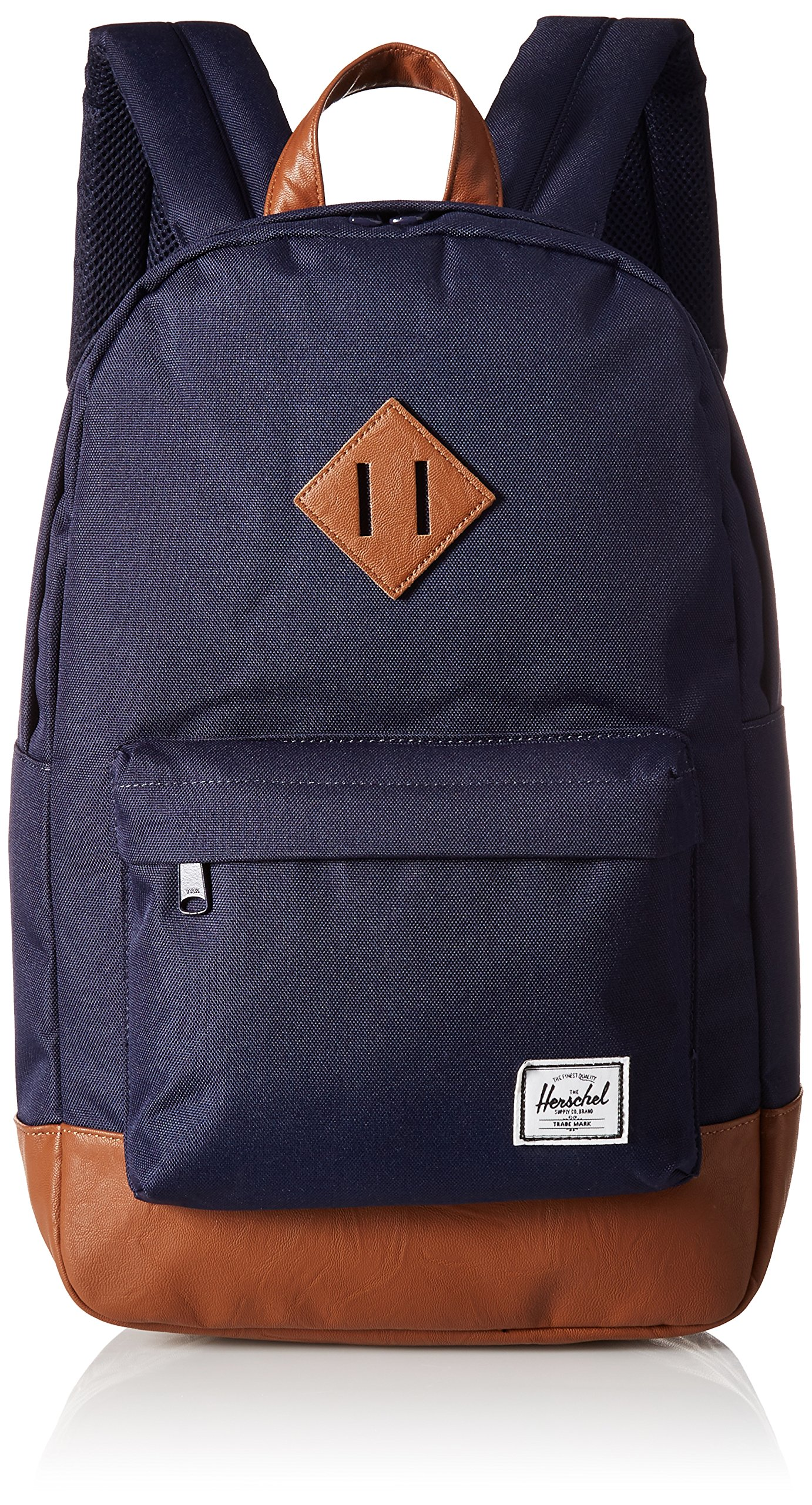 Herschel Supply Co. Heritage Mid-Volume Backpack, Peacoat/Tan Synthetic Leather, One Size