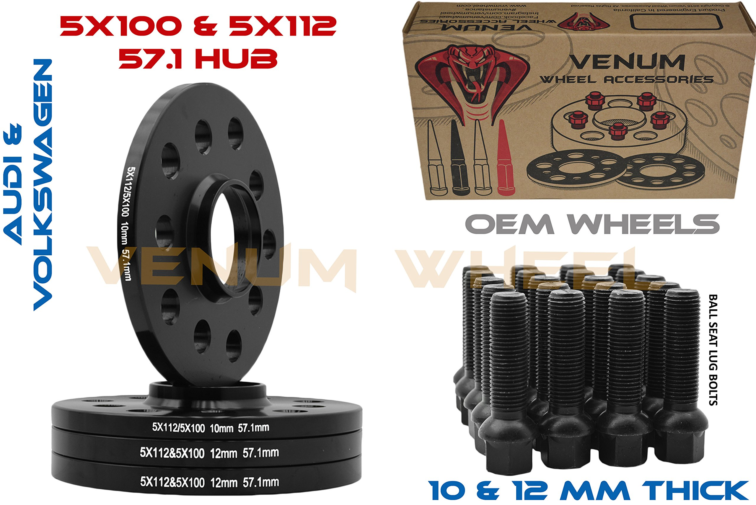 4pc Staggered Set of 10mm and 12mm Hubcentric Black Audi Volkswagen Wheels Spacers 57.1 HUB 5x100/5x112 Bolt Pattern+ 20 Black Ball Seat Lug Bolts