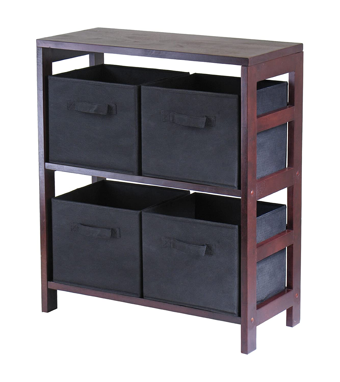 Winsome Wood Leo Wood 3 Tier Shelf with 3 Rattan Baskets - 1 Large; 2 Small in Espresso Finish 92649 WN-2-92649
