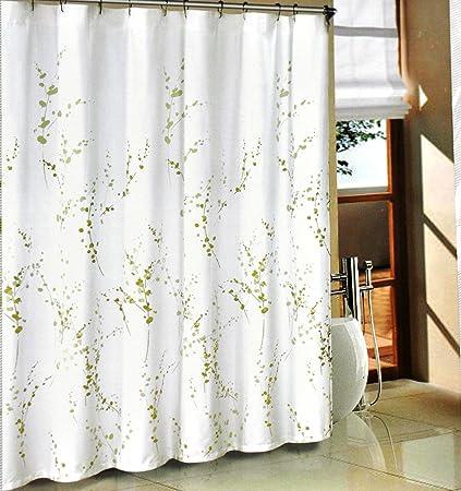 Tahari Green Sprigs Fabric Shower Curtain