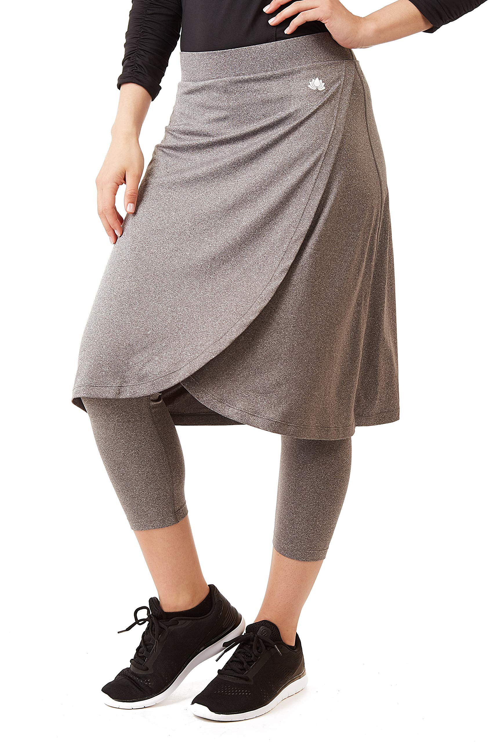 Snoga Modest Workout Faux Wrap 3/4 Length Leggings Attached - Heather Grey, Small