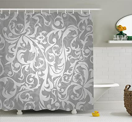 Ambesonne Silver Shower Curtain Set Victorian Style Large Leaf Floral Pattern Swirl Classic Artsy Abstract