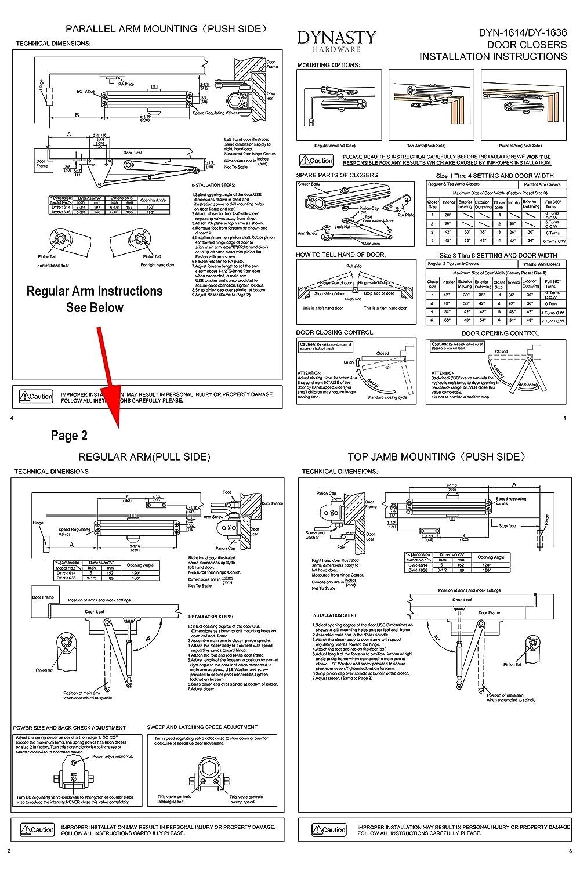 Dynasty Hardware 1614-ALUM Grade 1 Door Closer, Size 1-4, ADA ...