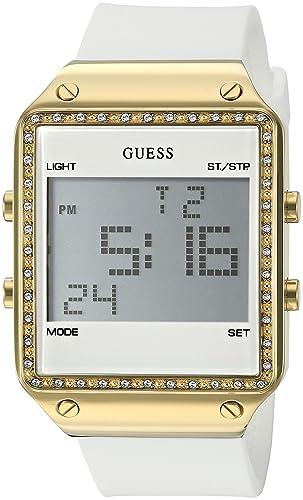 Guess u0700l1 Tono Dorado de Las Mujeres multifunción Reloj Digital de Correa de Silicona Color Blanco: Amazon.es: Relojes