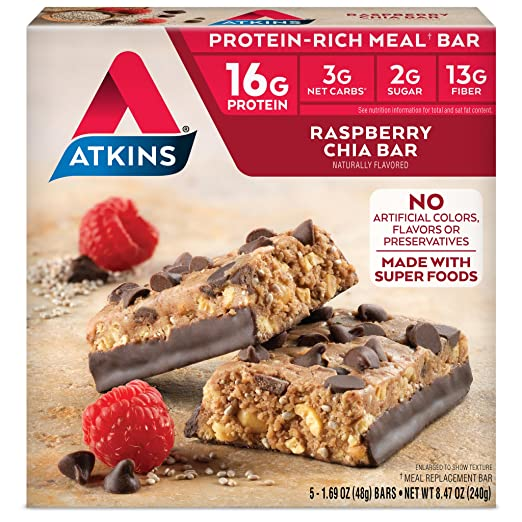 Amazon.com: Atkins Protein Rich Meal Bar, Chocolate Chip Cookie Dough, 5  Count: Health U0026 Personal Care