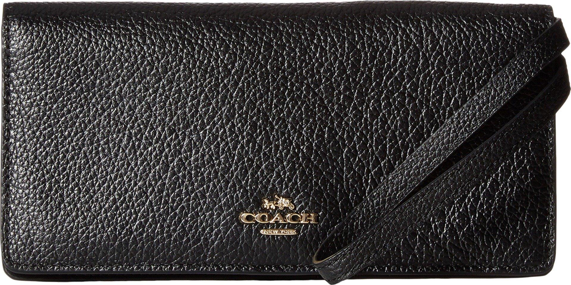 COACH Women's Pebbled Leather Slim Wallet LI/Black