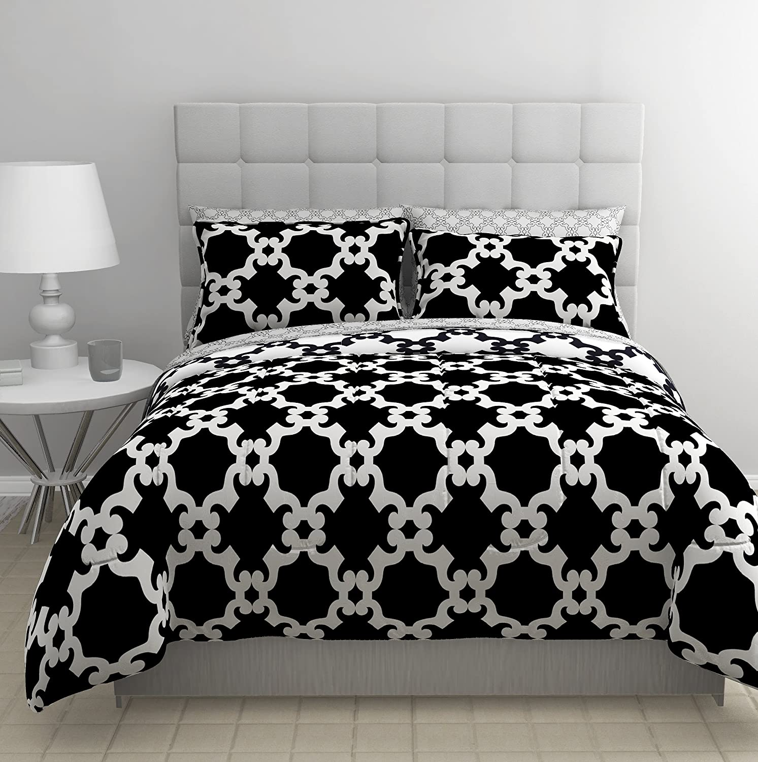 Bed-in-a-Bag Comforter Set, Queen, Black/White