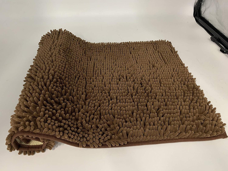FRUITEAM Chenille Bathroom Rug Extra Soft Absorbent Bath Mat Perfect Plush Carpet Mats for Tub Coffee and Bath Room 30 x 20, Machine Wash//Dry Shower