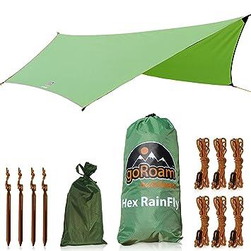 GoRoam Outdoors HEX Hammock Rain Fly Waterproof C&ing Tarp u0026 Tent Shelter. Pro Grade Micro  sc 1 st  Amazon.com & Amazon.com : GoRoam Outdoors HEX Hammock Rain Fly Waterproof ...