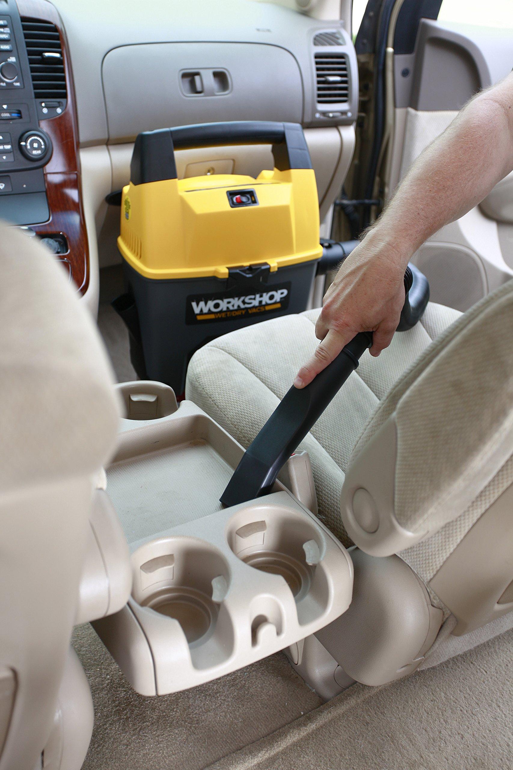 WORKSHOP Wet Dry Vac WS0301VA Portable Wet Dry Vacuum Cleaner For Car, 3-Gallon Wet Dry Auto Vacuum Cleaner, 3.5 Peak HP Portable Auto Vacuum With Accessories For Car Cleaning by WORKSHOP Wet/Dry Vacs (Image #3)