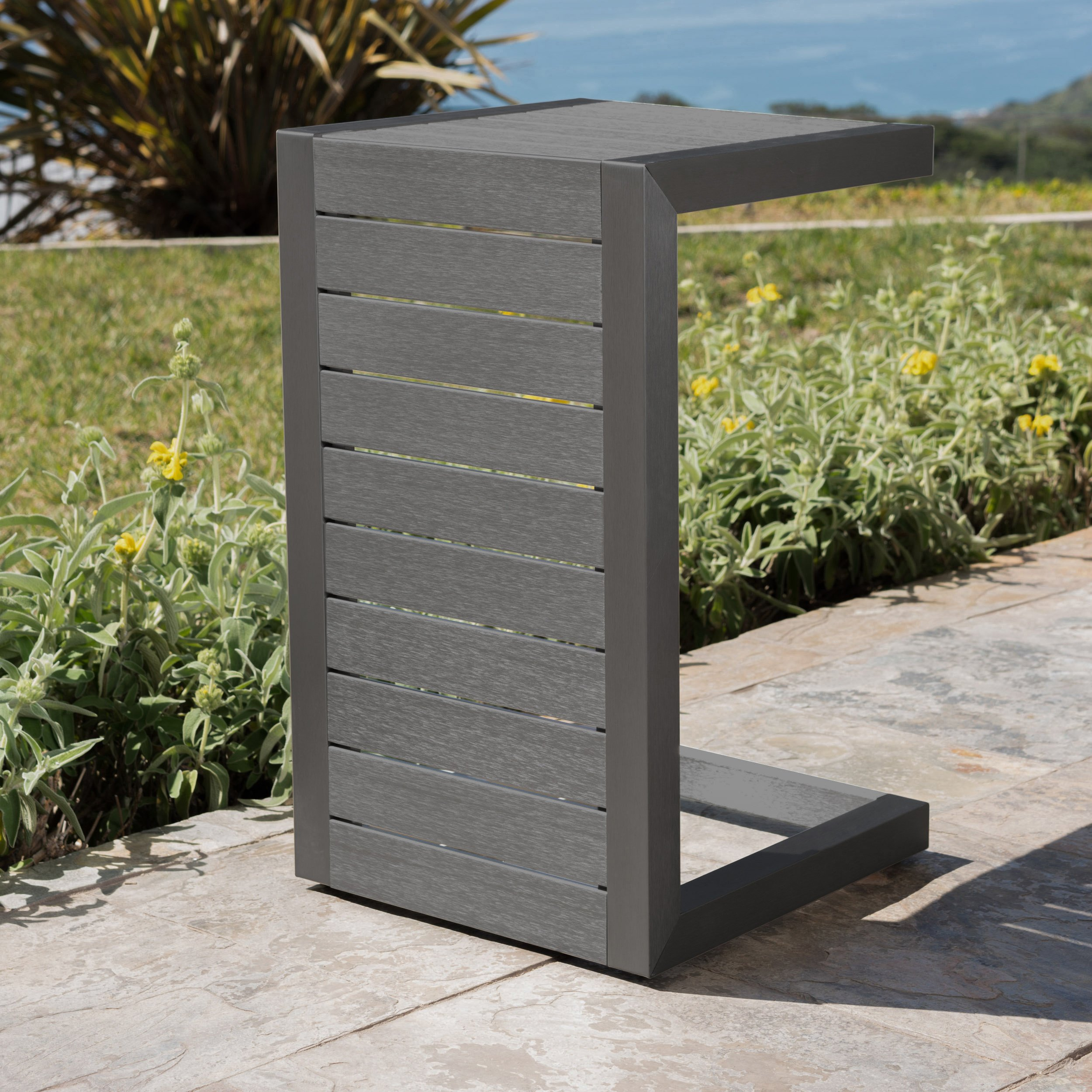 Crested Bay Patio Furniture | Outdoor Grey Aluminum C-Shaped Side Table