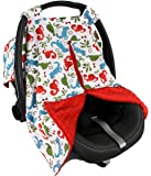 Strawberry Farms Baby Car Seat Cover Canopy and Nursing Cover 2 in 1 Red and Blue Dino