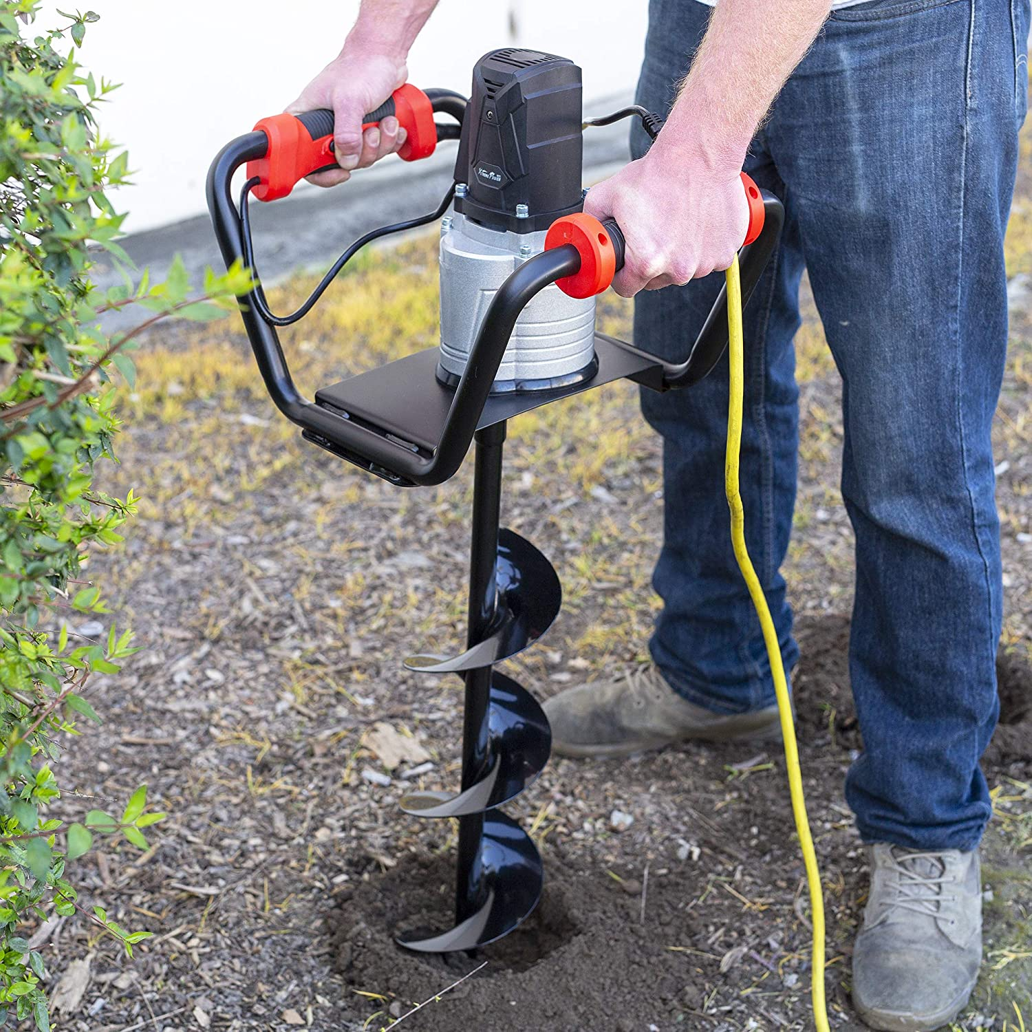 """XtremepowerUS 1500W Industrial Electric Post Hole Digger Fence Plant Soil Dig Powerhead Include 6"""" Digging Auger Bit Kit"""