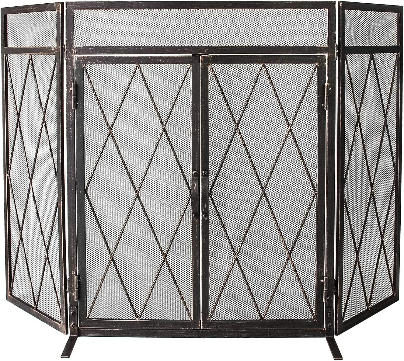 "WBHome 3 Panel Wrought Iron Fireplace Screen with Doors Large Flat Guard Metal Decorative Mesh Cover Baby Safe Proof Firewood Burning Stove Accessories (50"" L x 32"" H x 9.5"" W)"
