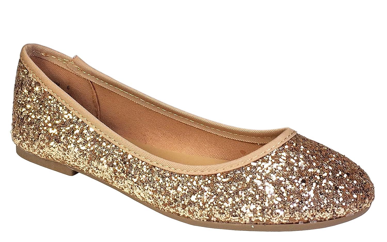 Bamboo Women's Round Toe Ballet Flats B07621YN8Y 8.5 B(M) US|Rose Gold Glitter