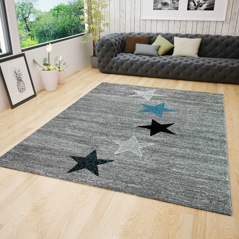 VIMODA Teppich Modern Jugendstil Schwarz Grau Türkis Kurzflor Stern Muster - Pflegeleicht und Top Qualität, Maße 200x290 cm