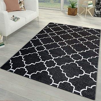 Schwarz Weiß Teppich Für Wohnzimmer Schlafzimmer Weiches Klein Groß  Oriental Fliesen Ornament, Schwarz, 160x230cm