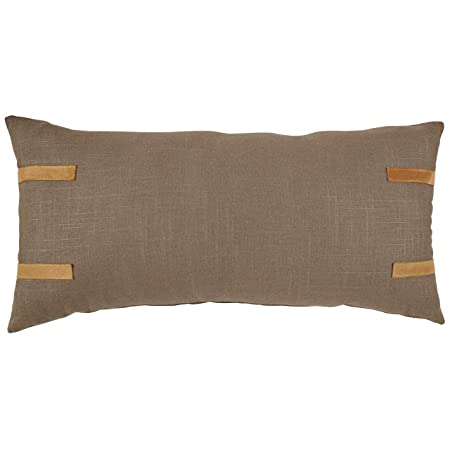 Stone Beam Industrial Leather Detail Throw Pillow – 24 x 12 Inch, Truffle with Ambra