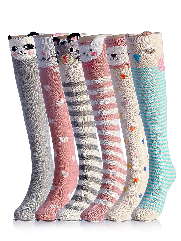 Cartoon Animal Cotton Knee High Socks For Children,6 Colors,One Size CISW008-6