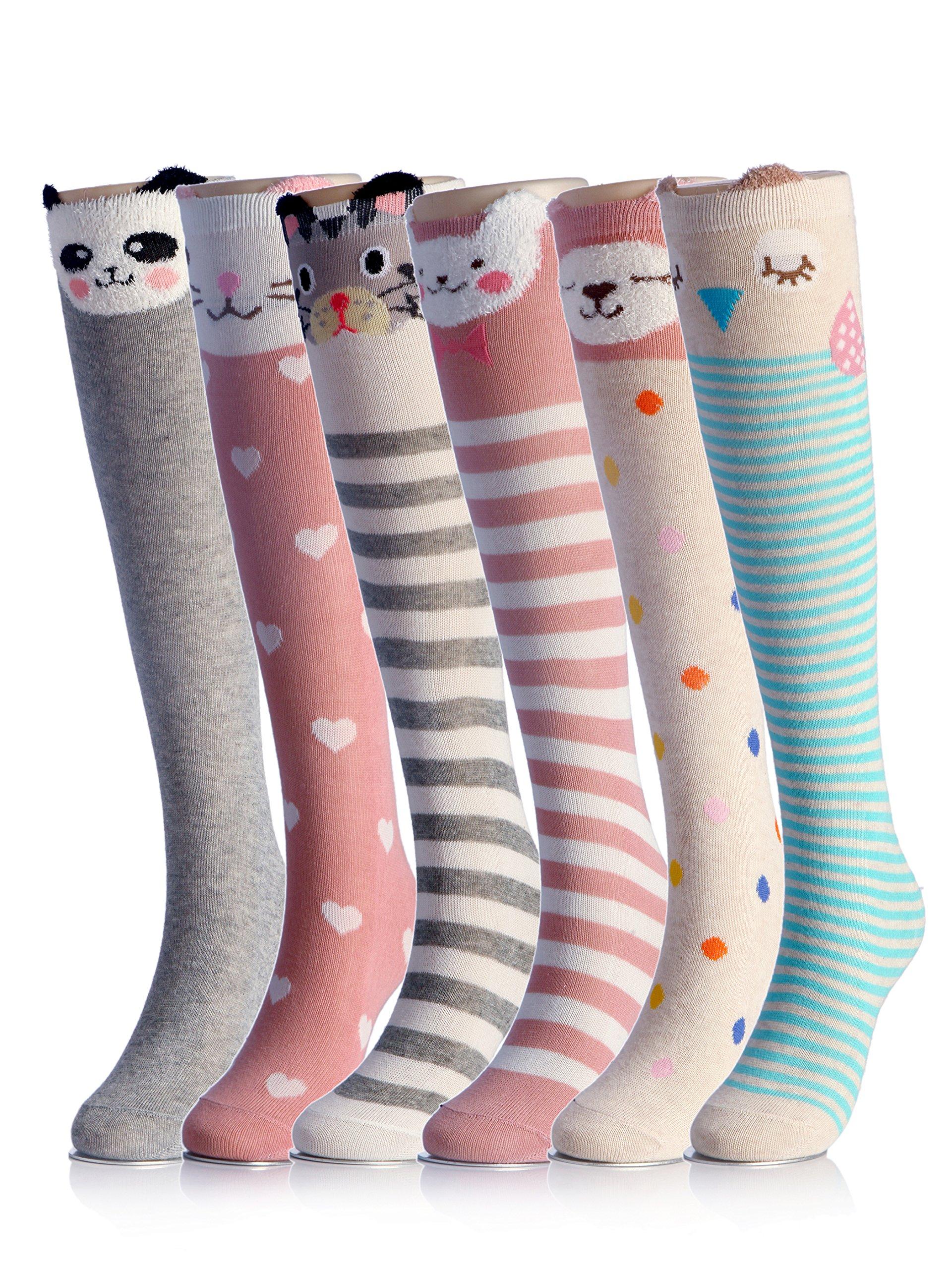 Cartoon Animal Cat Bear Fox Cotton Over Calf Knee High Socks 6PCS 6 colors one size